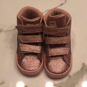 Puma high top sneakers - pink glitter!
